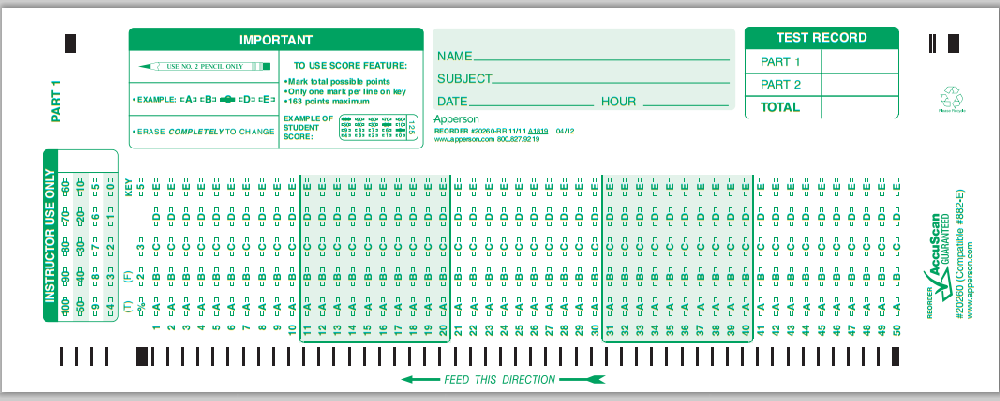 golicinsky answer sheet .